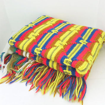 Vintage crochet afghan blanket throw in colorful Southwestern diamond pattern - Yellow red purplish-blue white tan 58 x 43 in