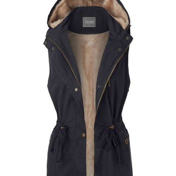 Anorak Fur Lined Hooded Vest Navy Blue