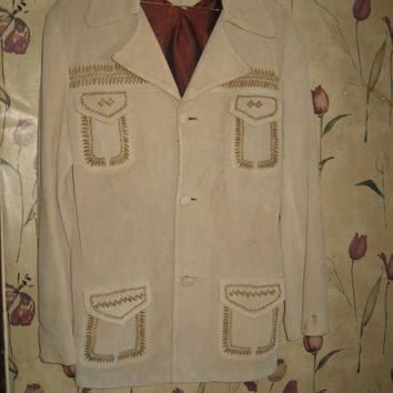 awesome 1950s western hand painted hand stitched suede leather riding mens jacket..sz 42