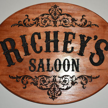Custom Personalized Western Saloon Hand Painted Carved   Wooden Sign