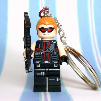 Hawkeye Key Chain made from NEW Superhero LEGO (r) Minifigure