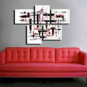 "Made to order. Original abstract painting. 5 piece canvas art. 29x41"" Large painting black and white, red details. Modern wall art."