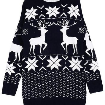 Streetstyle  Casual Black Floral Christmas Deer Snowflake Cute Mini Sweater Dress