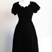 Vintage 1940s Bettty Brief Black Silk Velvet Dress