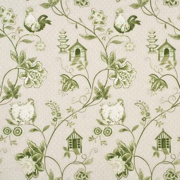 Baker Lifestyle Fabric PP50341.4 Bantam Toile Green