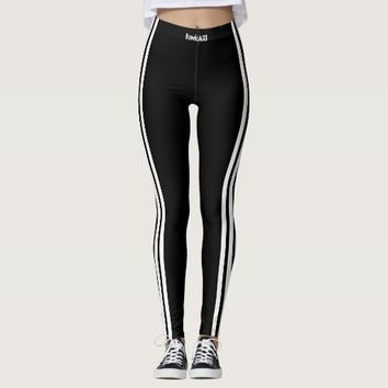 BLACK LEGGINGS 3WHITE STRIPE HAVIC ACD