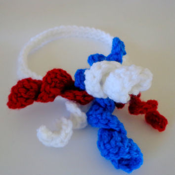 headbands  fourth of july red white and blue by crochetedcuddles