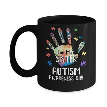 Support Autism Awareness For My Sister Puzzle Gift Mug