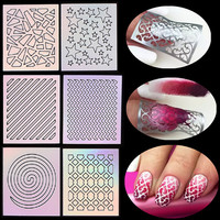 1 Sheet Nail Art Thin Vinyls Hollow Guide Stencil Sticker 24 Styling Polish Gel 3D Laser Irregular Image Decal Manicure Template