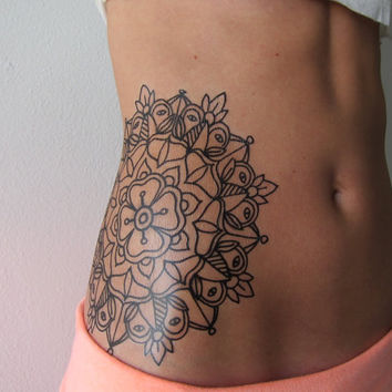 X-Large Traditional Mandala - Hand Drawn Temporary Tattoo