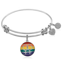 Expandable White Tone Brass Bangle with LGBTQ Pride Enamel Symbol