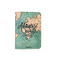 Adventure Awaits World Map [Name Customized] Leather Passport Holder/Cover/Wallet_SCORPIOshop