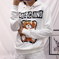MOSCHINO Popular Women Men Casual Cute Pin Bear Print Long Sleeve Hooded Pure Cotton Couple Sweater Top Sweatshirt White I13624-1