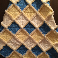 Yellow Baby Rag Quilt - Flannel Baby Quilt - Blue Baby Boy Quilt