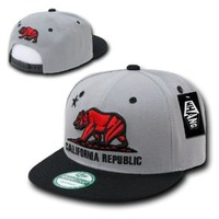 WHANG California Republic Snapbacks, Grey/Black