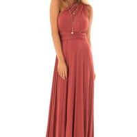 Rust Slinky Maxi Dress with Wrap Tie Waist Belt