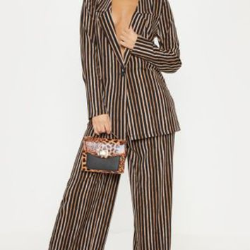 Black Stripe High Waisted Straight Leg Trouser