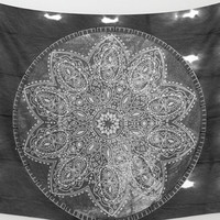 Black And White Mandala Shibori Tie Dye Tapestry Wall Hanging Meditation Yoga Grunge Hippie