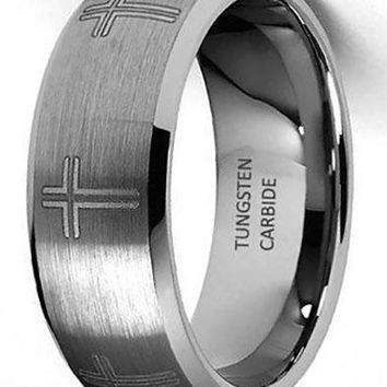 CERTIFIED 8mm Cross Laser Engraved Tungsten Wedding Band