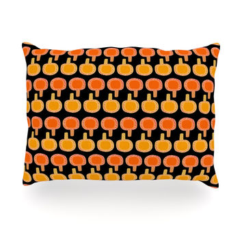 "Jane Smith ""Vintage Mushroom"" Orange Black Oblong Pillow"