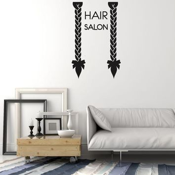 Vinyl Wall Decal Hair Salon Signboard Pigtails Stylist Hairdresser Stickers Mural (ig5389)