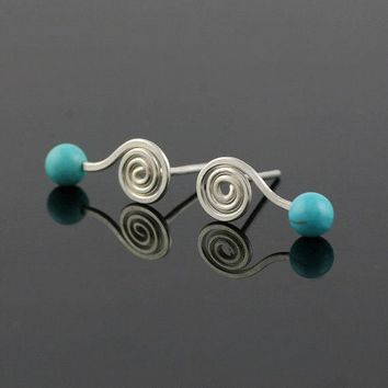 Sterling silver turquoise stud earrings  Bridesmaid gifts Free US Shipping handmade Anni designs
