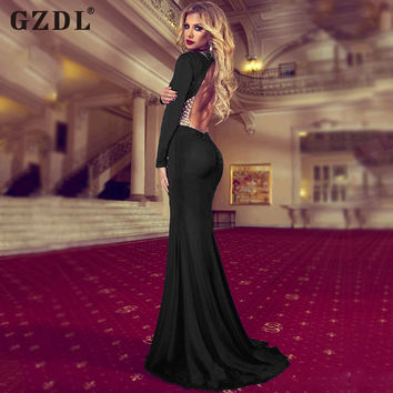 Women Ladies Long Sleeve Backless Hollow Out Bodycon Cocktail Party Formal Prom Gown Mermaid Dress Vestidos De Fiesta CL2874