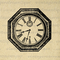 Printable Graphic Antique Clock Image Digital Illustrated Download Vintage Clip Art for Transfers Making Prints etc HQ 300dpi No.3678