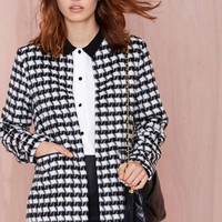Glamorous Uptown Bound Houndstooth Coat