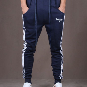 Blue Vertical Striped Drawstring Harem Jogger Pants
