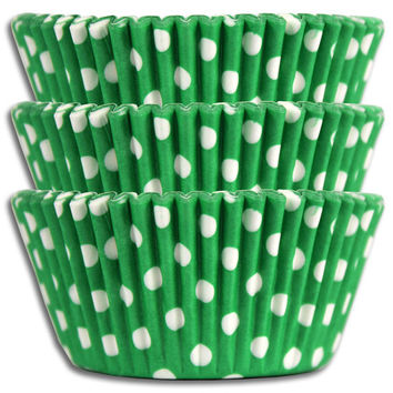 Green Polka Dot Baking Cups