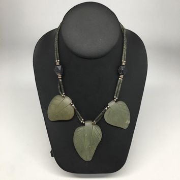 "3 Pendants Green Nephrite Jade Beaded Necklace @Afghanistan,18"", Handmade, NPH44"