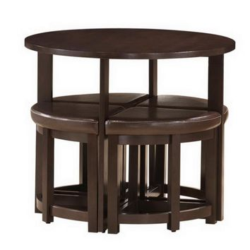 Baxton Studio Rochester Bar Table Set with Nesting Stools