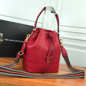 HCXX 19Aug 970 Prada Fashion Leather Duoble Shoulder Strap Bucket Bag .21-25-15cm