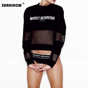 Women 2017 Fashion Sportwear Cotton Sexy Casual Sweatshirts Hollow Out Crop Top Printed Letter WORST BEHAVIOR High Quality