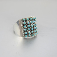 Sterling Silver Turquoise Ring. Zuni Petit Point Ring. Signed Halvo. Unisex Men Women Native American Ring. Southwestern Jewelry