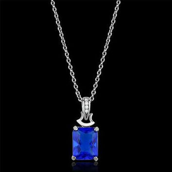 Swoon – FINAL SALE Sapphire blue color emerald cut cubic zirconia with white czs sterling silver necklace