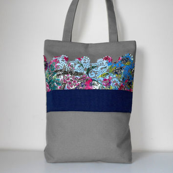 Canvas Tote bag, Canvas Shoulder Bag, Lace Bag, Everyday Bag, Floral Tote, Grey bag, Shopping Bag, Canvas Handbag
