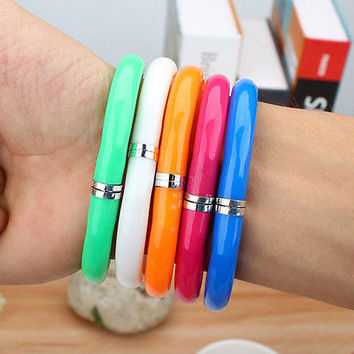 2pcs Colorful plastic Bangle Bracelet Wristlet Circlet flexible Ball Point PenHU