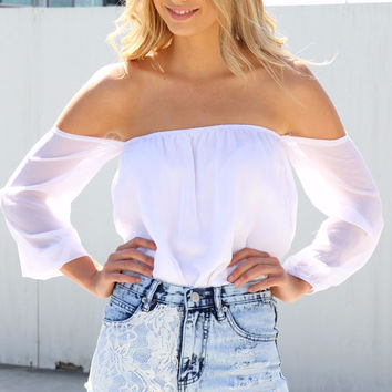 Kimmie Off-Shoulder Top - White