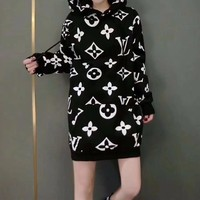 """Louis Vutitton"" Women Casual Fashion Letter Logo Print Middle Long Section Long Sleeve Pullover Hooded Sweater Mini Dress"