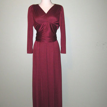 Vintage 1970s Dress / Burgundy Maxi Dress / Bridesmaid Dress / Burgundy Gown / size small