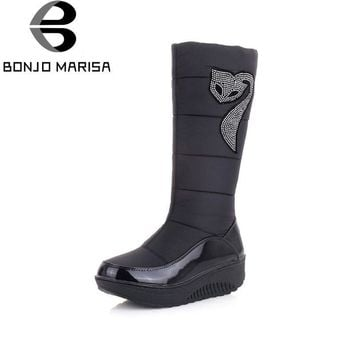 BONJOMARISA Big Size 35-44 Women Snow Boots for Winter Thick Rubber Wedges Platform Ha