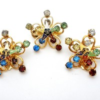 Vintage Eastern Star Brooch Pin Earrings Set