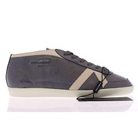 Dolce & Gabbana Dark Gray Leather Logo Sport Sneakers Shoes
