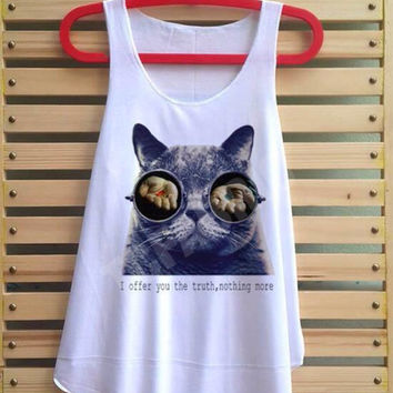 Sunglasses cat shirt red and blue pill vintage cat funny tank top tshirt tee tunic vest sleeveless - size S M