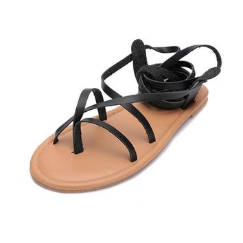 New arrival women gladiator summer boots strap pu leather bandage lace up thong clip ring toe flat heel cut out sandals