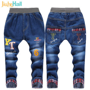Kids Jeans Elastic Waist Straight Cartoon Jeans Denim Long Pant Retail Boy Jeans12 Types WB114