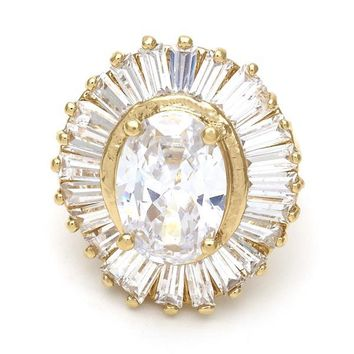 Gold Layered 5.171.015.06 Mult-stone Ring, Baguette Design, with White Cubic Zirconia, Polished Finish, Gold Tone (Size 6)