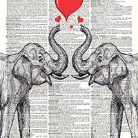 Elephant Love Art - Vintage - Upcycled Dictionary Art - Wall Print - Poster - UNFRAMED